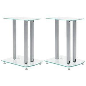 JeeKan Speaker Stands 2 pcs Tempered Glass 1 Pillar Design Silver